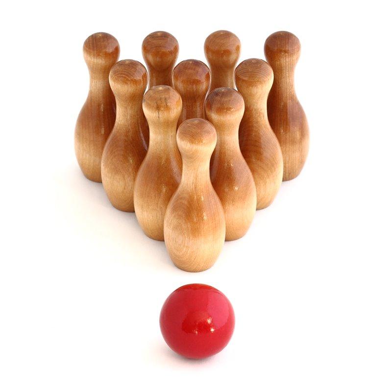 Varnished Wood Bowling Pins Red Bowling Ball Set
